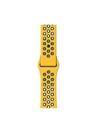 Bludfire Apple Watch Silikon Delikli Spor Kordon Kayış 1 2 3 4 5 Seri 42/44Mm Sarı /Siyah Sarı